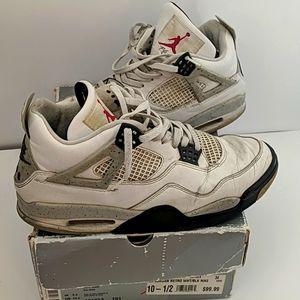 Nike Air Jordan 4 Retro White Black Size 10.5